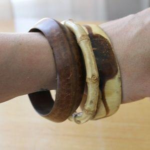 Set of 3 Chunky Vintage Wooden Bangle Bracelets